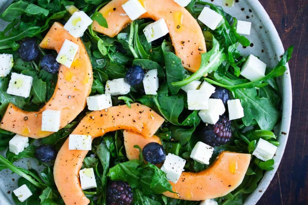Cantaloupe & Blueberry Salad with White Balsamic Vinaigrette
