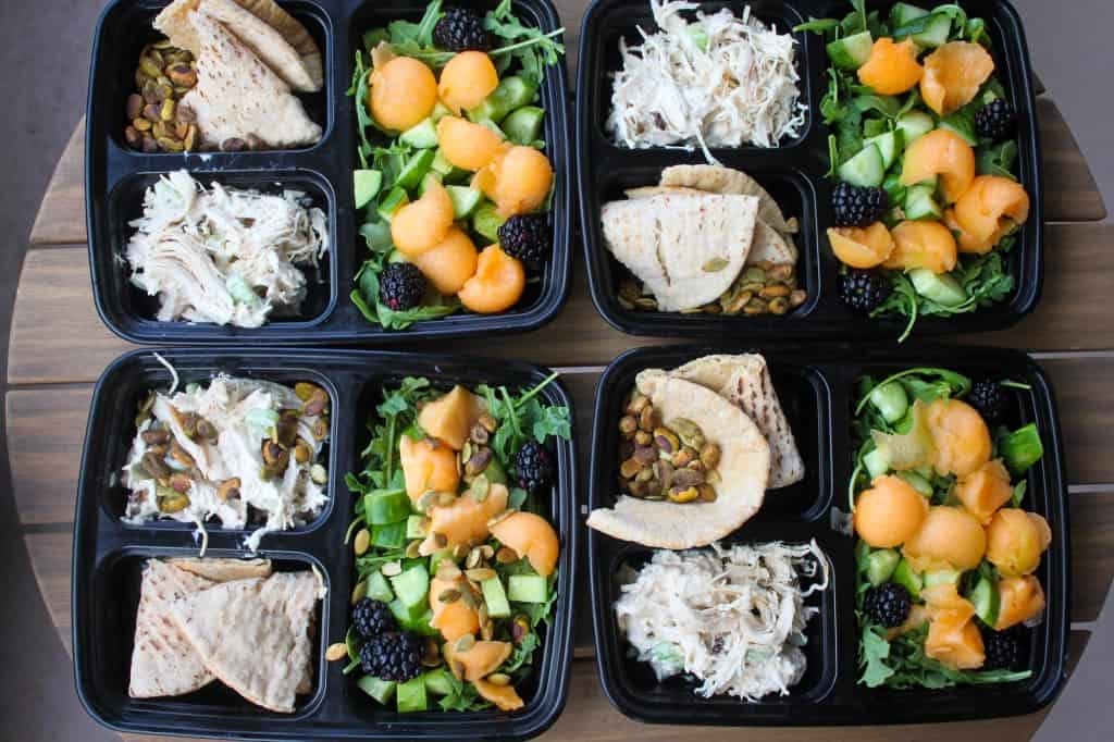 Lunchbox Series: Cantaloupe & Blackberry Salad with Pistachio Chicken Salad