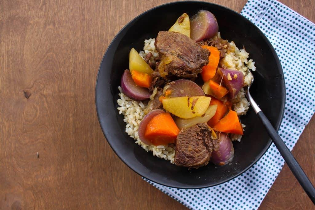 Spring Pot Roast with Purple Daikon & Carrots