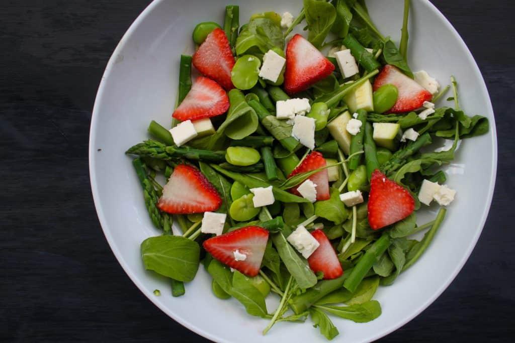 Spring Salad with Asparagus, Fava Beans, Strawberries & Feta