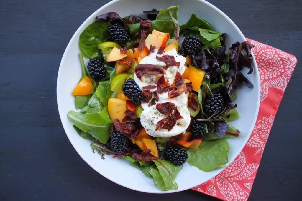 Blackberry, Peach, & Burrata Salad with Crispy Prosciutto