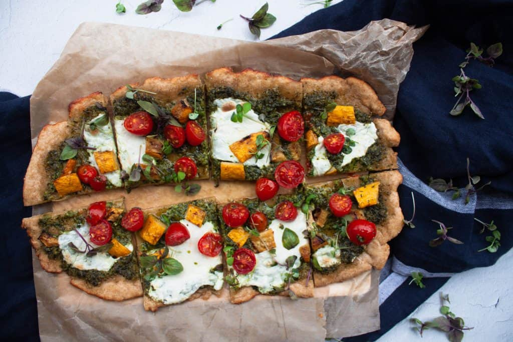 Summer Pizza with Basil Pesto, Summer Squash, Tomatoes & Basil Microgreens