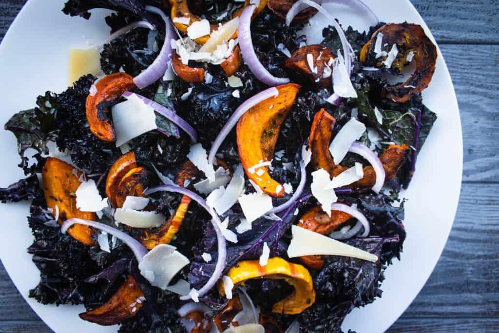 Delicata Squash & Parmesan Kale Salad