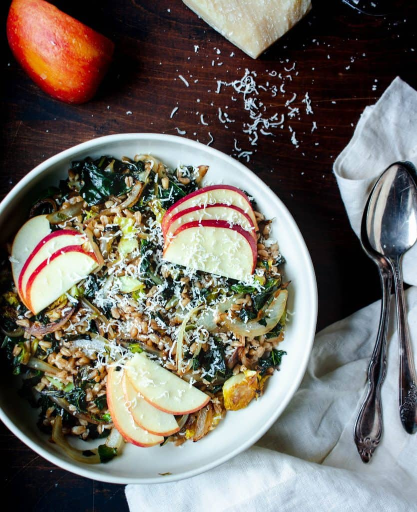 Caramelized Brussels Salad with Farro, Apples & Parmesan