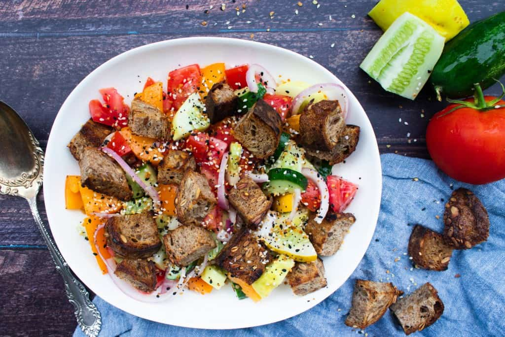 Pumpernickel & Cucumber Panzanella Salad with Everything Bagel Seasoning