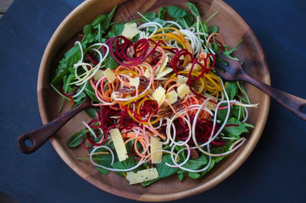 Spiralized Apple, Beet & Sweet Potato Salad with Cider Vinaigrette