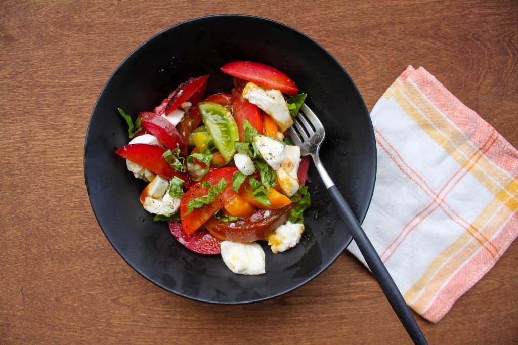 Late Summer Pluot, Heirloom Tomato, & Burrata Salad