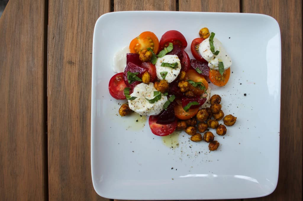 Heirloom Tomato, Plum & Mozzarella Salad with Oven-Fried Chickpeas