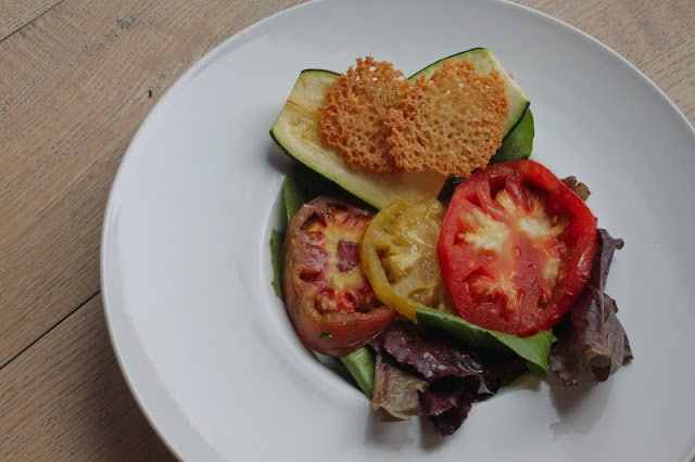 Roasted Tomato & Zucchini Salad with Parmesan Tuiles