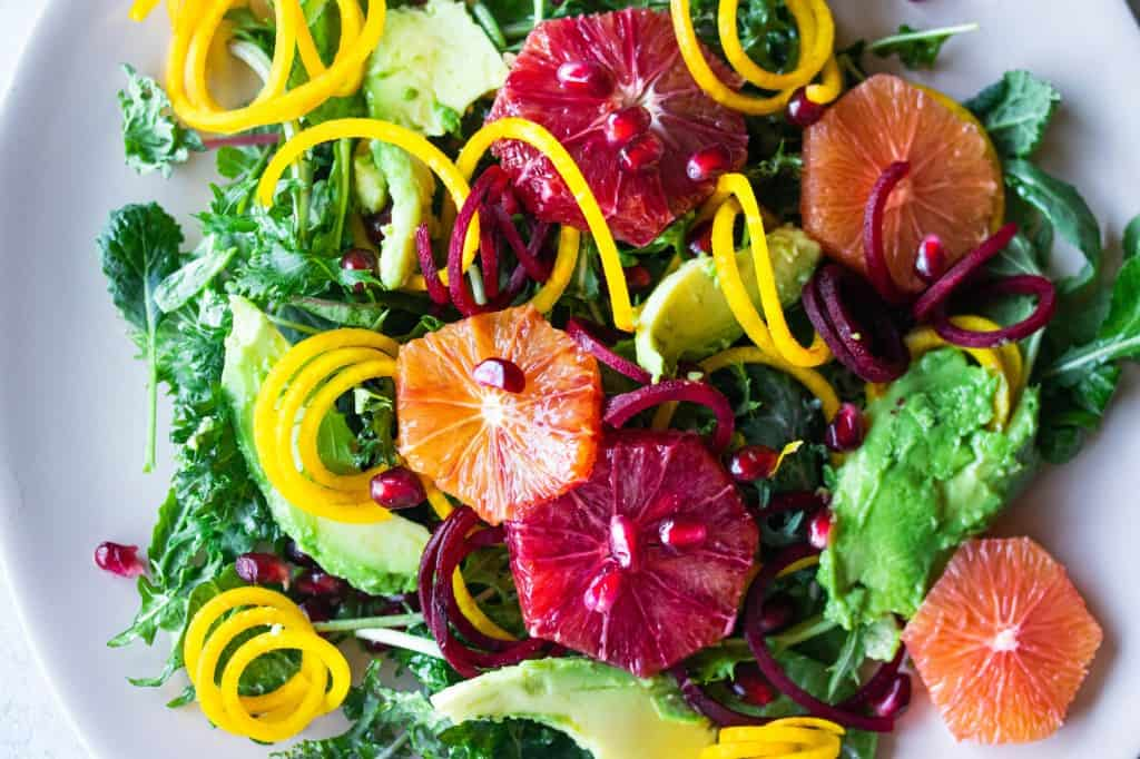 Avocado & Citrus Salad with Spiralized Beets & Pomegranate Seeds