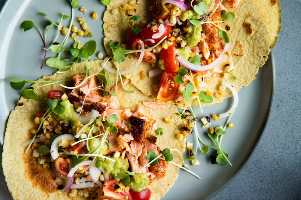 Salmon Tacos with Grilled Corn & Tomato Salsa
