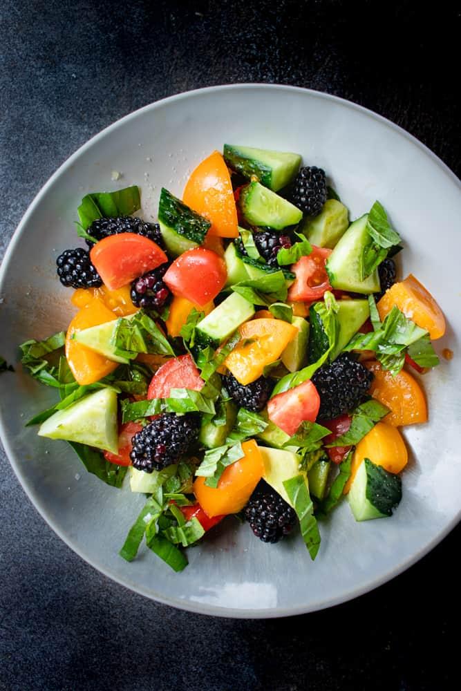 Blackberry, Cucumber, & Heirloom Tomato Salad