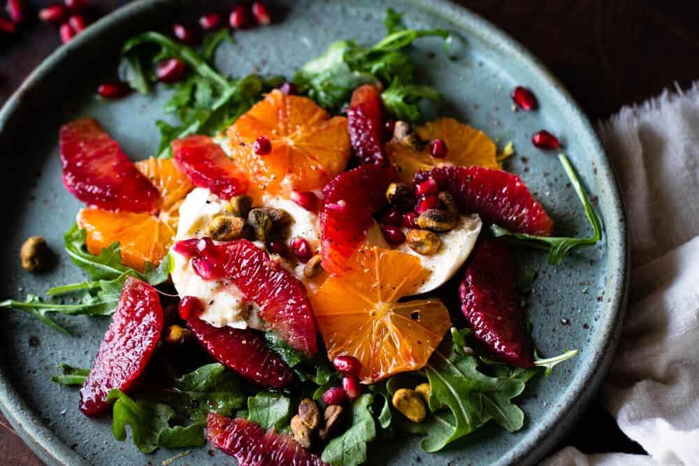Blood Orange, Pistachio & Burrata Salad