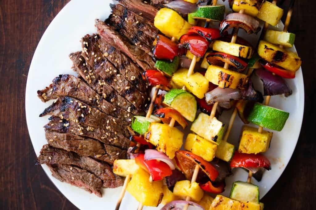Grilled Bulgogi Skirt Steak with Pineapple Veggie Skewers