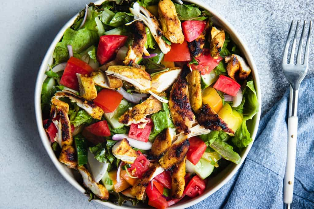 Tomato & Watermelon Chicken Shawarma Monster Salad