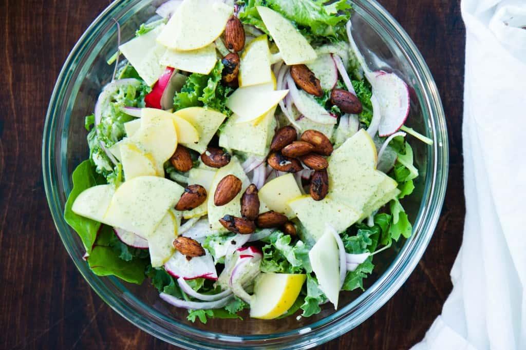 Creamy Sage Salad with Apples & Radishes