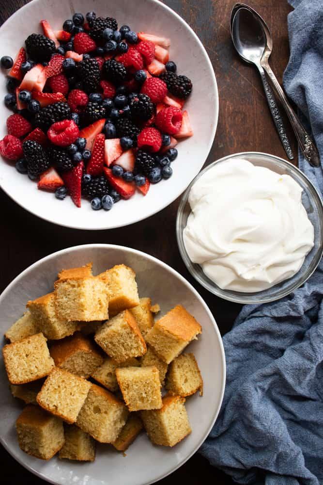 Honey Cornmeal Cake with Berries & Fresh Whip Cream
