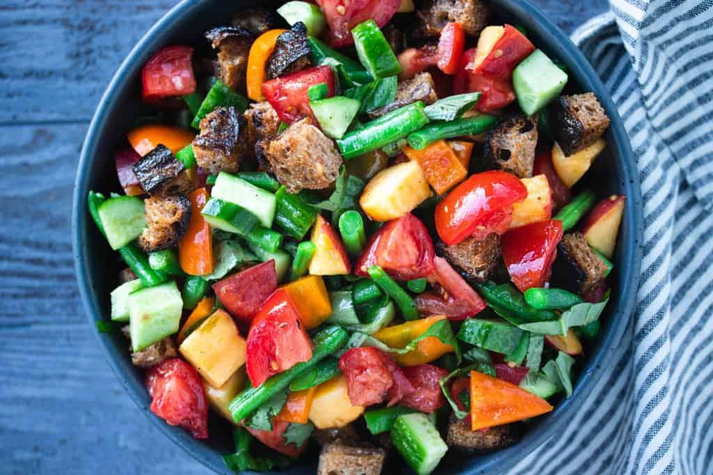 Peach & Green Bean Panzanella Salad