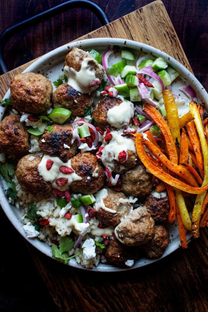 Lamb Meatballs with Pickled Cucumber & Red Onions and Tahini Sauce