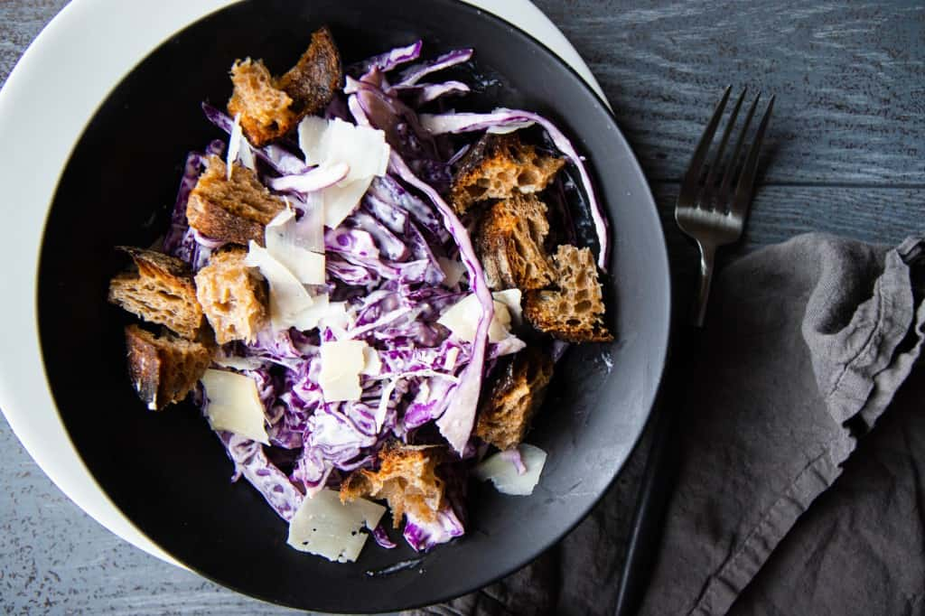 Not Your Typical Caesar Salad: Red Cabbage with Creamy Lemon-Tahini Dressing & Homemade Croutons