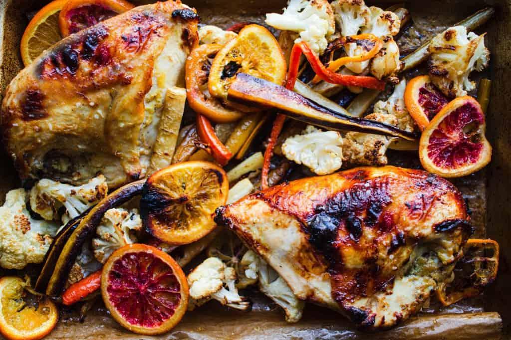 Sheet Pan Orange Roasted Chicken with Carrots & Cauliflower