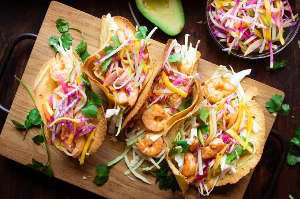 Shrimp Gochujang Tacos with Mango Radish Slaw