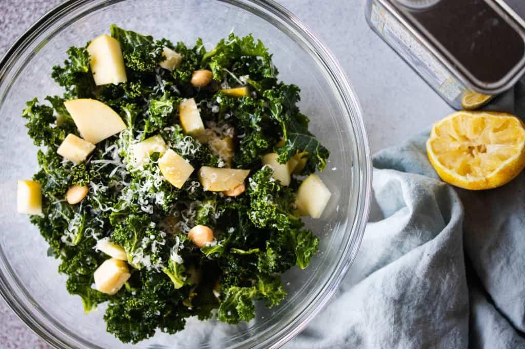 Lemony Kale Salad with Apple & Parmesan
