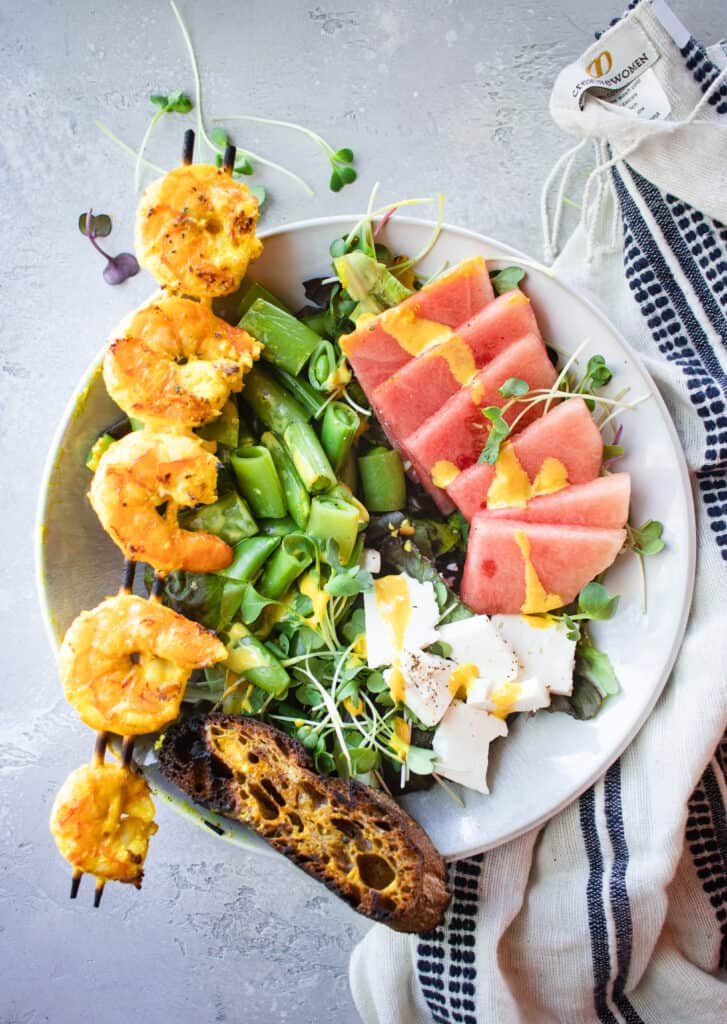 Watermelon, Snap Pea, & Feta Salad with Turmeric Grilled Shrimp