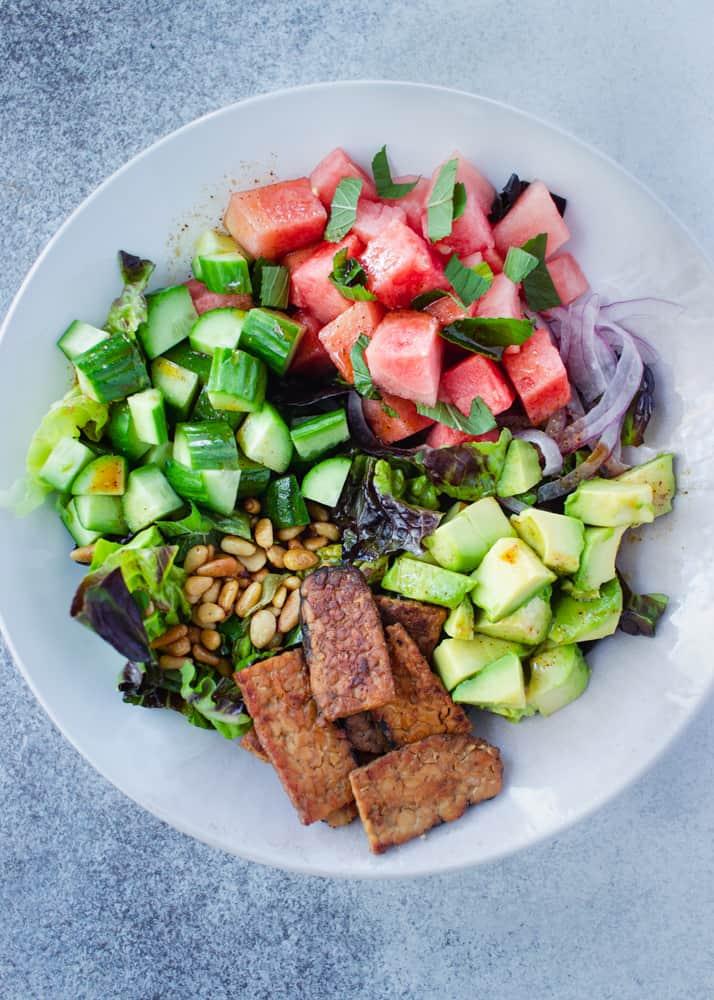 Watermelon Avocado Salad with Tamarind Lime Dressing