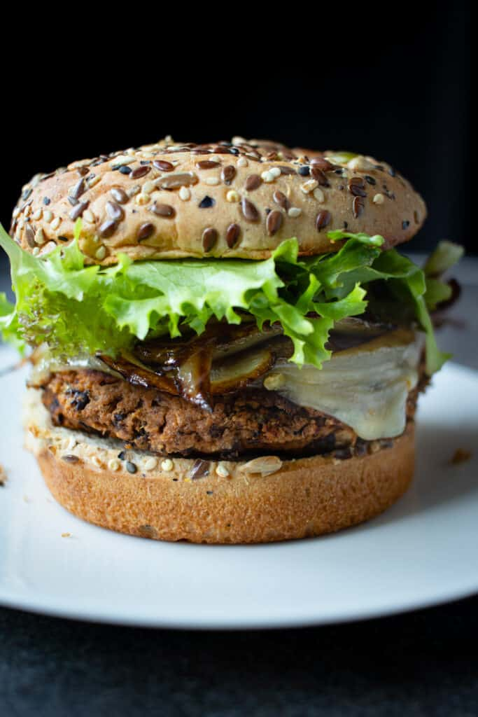 Black Bean Burgers with Caramelized Onions