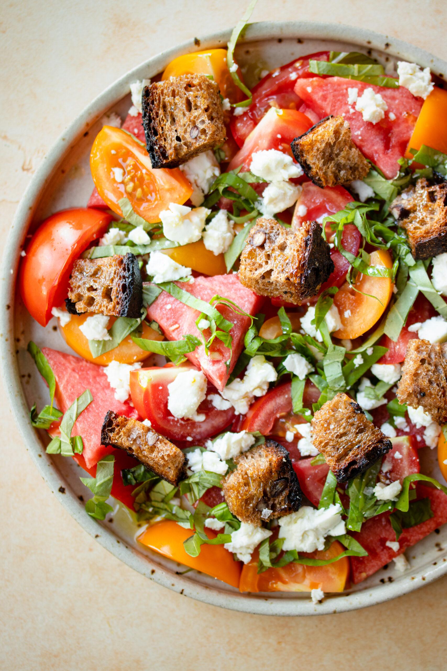 Watermelon, Tomato & Feta Panzanella Salad