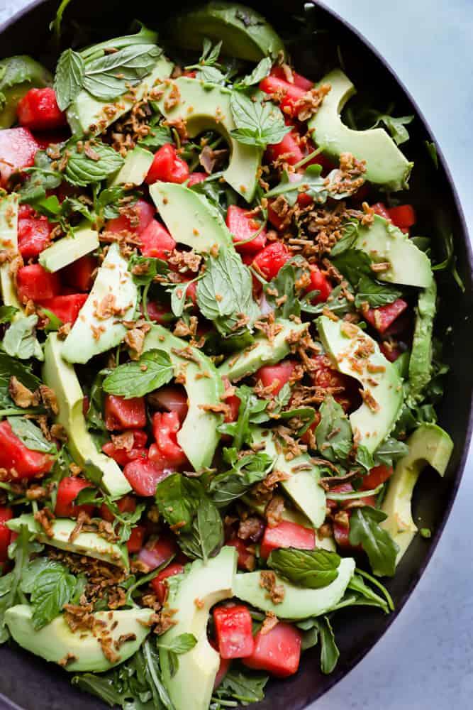 Watermelon & Avocado Salad with Crispy Onions