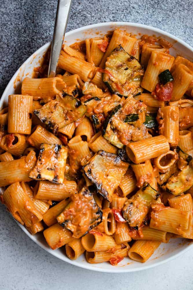 Summer Creamy Tomato Pasta with Crab & Zucchini