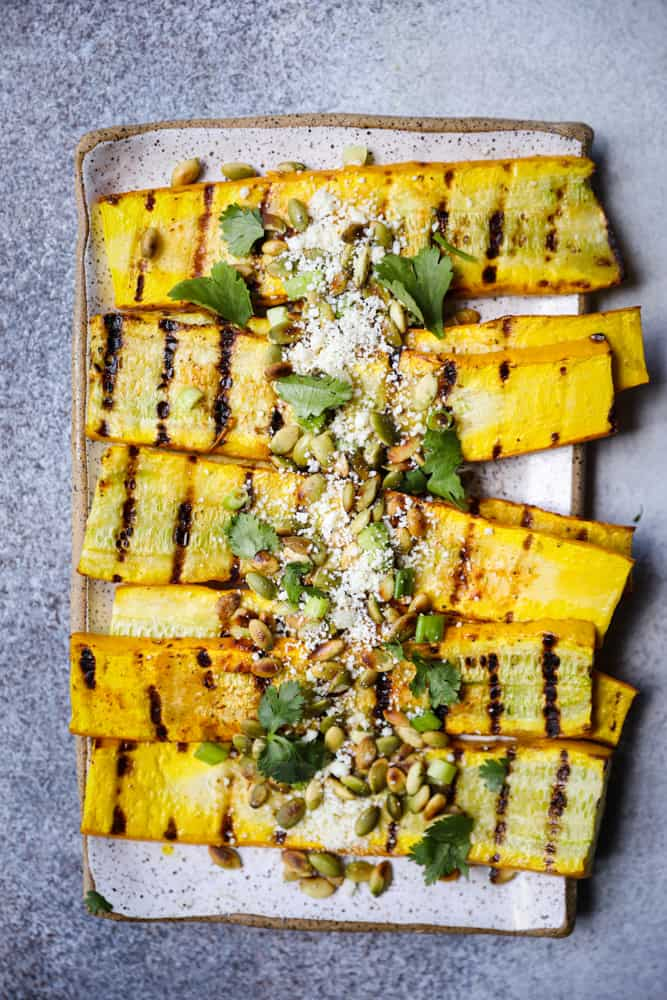 Grilled Summer Squash with Cotija & Pepitas