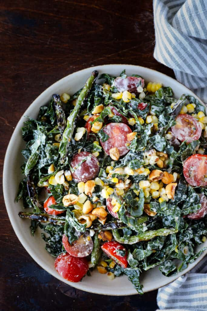 Summer Kale Caesar Salad with Corn & Tomato