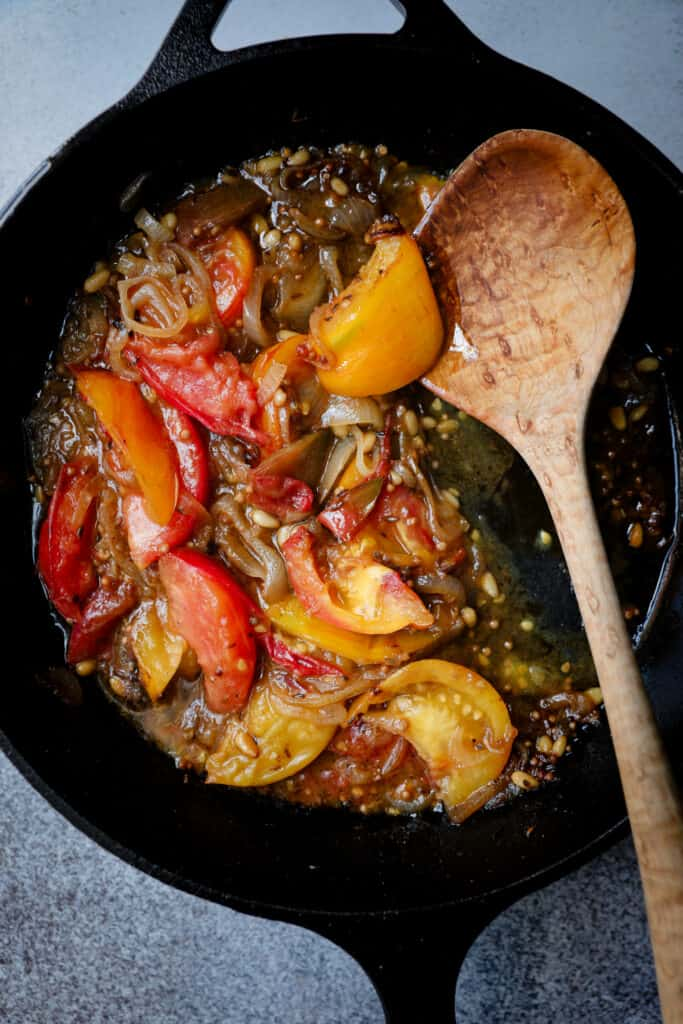 Spiced Jammy Heirloom Tomatoes & Shallots
