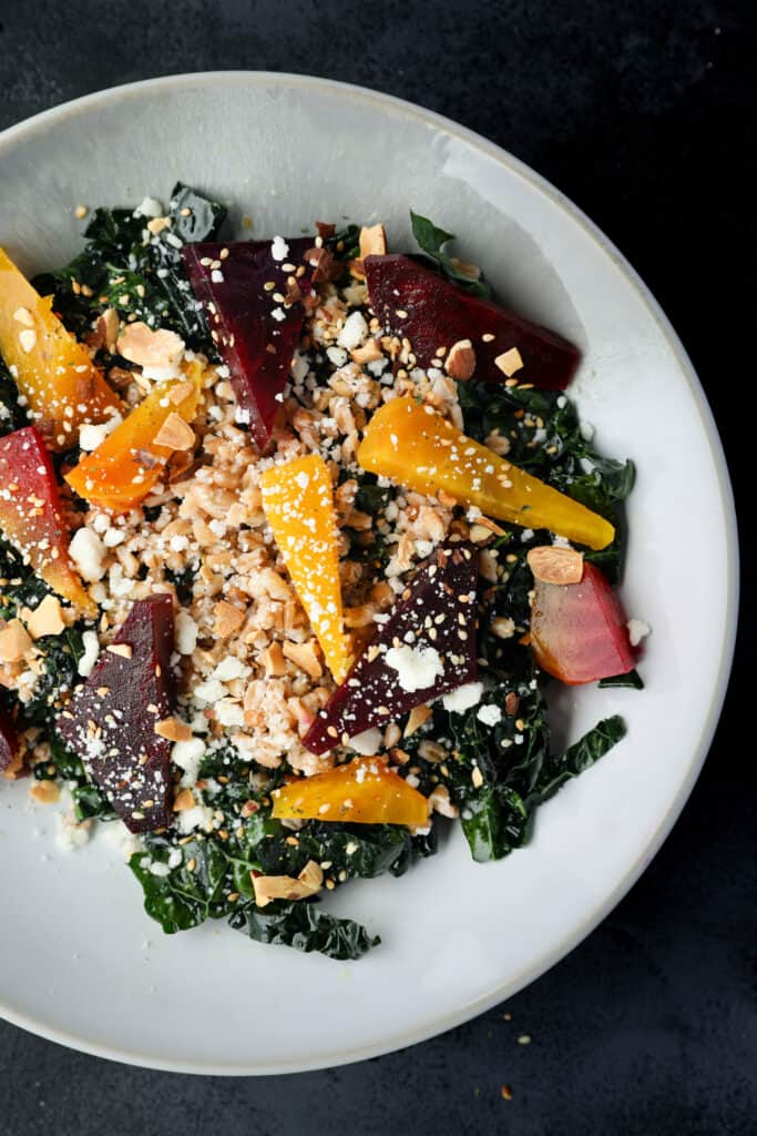 Beet, Farro & Cotija Kale Salad